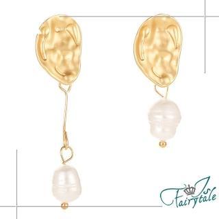 【伊飾童話】金色葉片*不對稱珍珠垂墜耳環