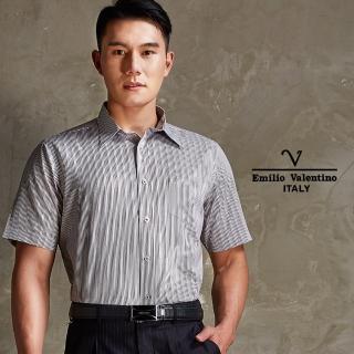 【Emilio Valentino 范倫鐵諾】雅致品味條紋長袖襯衫_咖啡(30-4H6501)