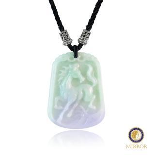 【MIRROR 皇宣緣】一馬當先 淡綠紫羅蘭水亮翡翠玉牌