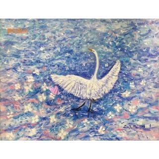 【豐財藝術】Dance of life白鷺鷥生命之舞能量真跡油畫(印象派油畫藝術收藏首選)