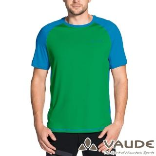 【VAUDE】男款輕量快乾透氣圓領短袖拼接T恤(VA-40957綠藍/登山/戶外/旅遊/休閒日常/運動)