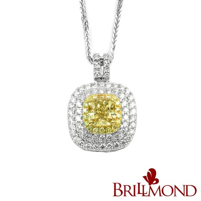 【BRILLMOND JEWELRY】極致豪華GIA 一克拉彩鑽墜(GIA Fancy Yellow / VS2 18K金台)