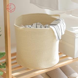 【SHIMOYAMA 日本霜山】亞麻風棉線編織圓形洗衣收納籃-附手把(儲物/整理/儲納/衣物/玩具)