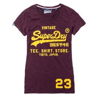【Superdry】極度乾燥 女 XS號 圓領短袖T-shirt 復古標誌純棉T恤(XS號 酒紅色)