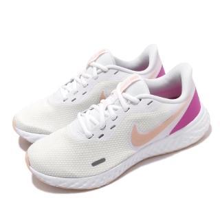 【NIKE 耐吉】慢跑鞋 Revolution 5 運動 女鞋 輕量 透氣 舒適 避震 路跑 健身 白 粉(BQ3207-103)