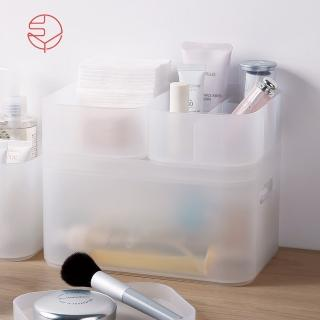 【SHIMOYAMA 日本霜山】可疊式桌面多用途霧透PP小物收納盒-大-4件套組(分類/儲物/整理/儲納/儲藏)