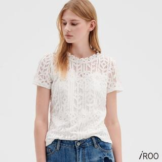 【iROO】圓領蕾絲上衣
