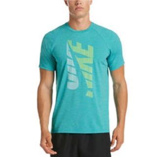 【NIKE 耐吉】成人 男性 短袖防曬衣 淺藍 NESSA595-376