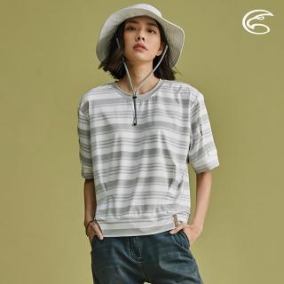 【ADISI】女短袖COOLMAX沁涼條紋休閒造型T AL2011053 / S-XL(涼感、透氣、輕量、吸濕排汗)