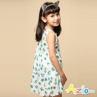 【Azio Kids 美國派】女童 洋裝 滿版幸運草無袖拉鍊洋裝(白)