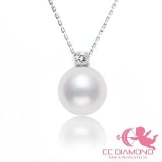 【CC Diamond】皇室風格 日本AKOYA配天然鑽石套鏈(配18K金肖邦鏈)