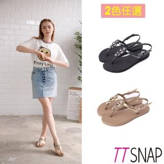 【TTSNAP】涼鞋-經典水鑽夾腳防水鞋(黑/金)