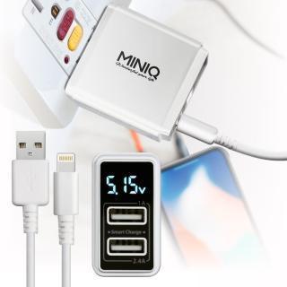 【mini Q】智慧型數字顯示3.4A雙孔旅充頭充電器+iPhone/ipad系列 傳輸充電線-白配白