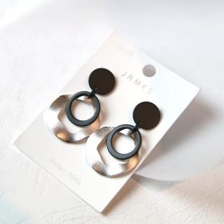 【SaladDate】正韓金屬銀色波浪雙圈針式耳環(耳針/韓國/耳勾/垂墜/氣質)