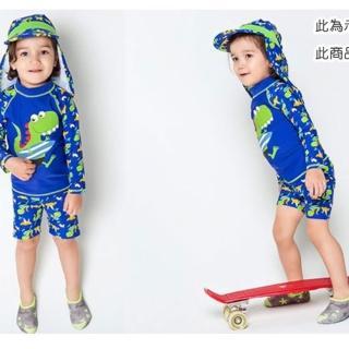 【橘魔法】男童 長袖防曬 泳裝 鯊魚 恐龍 泳衣+泳褲 兩件式 泳裝(橘魔法 泳褲 兒童 水母衣)