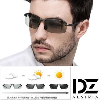 【DZ】UV400防曬偏光變色太陽眼鏡墨鏡-型潮格調變色片(黑框)