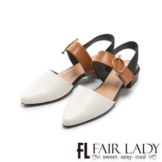 【FAIR LADY】小時光珍珠金屬圓釦尖頭繫帶低跟鞋(白、402250)
