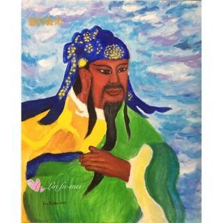 【豐財藝術】Namo Sangharama Bodhisattva 伽藍菩薩武財神能量真跡油畫(佛像油畫藝術收藏首選)