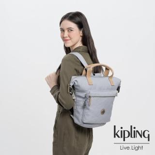 【KIPLING】邊緣地帶系列低調皮革質感霧灰雙側插扣手提後背兩用包-TSUKI S