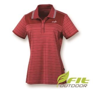 【Fit 維特】女-吸排抗UV細條紋短袖POLO衫-西瓜紅 HS2108-A1(POLO衫/抗UV/條紋款)