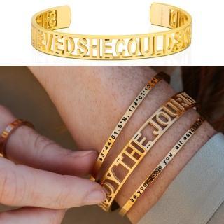 【MantraBand】美國悄悄話 SHE BELIEVED SHE COULD 金色手環 新款小寬版 她相信她可以(悄悄話手環)