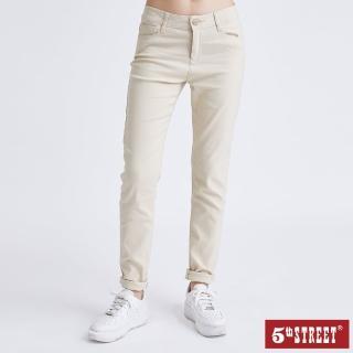 【5th STREET】女超彈力素色窄直筒褲-淺卡其(momo獨家)