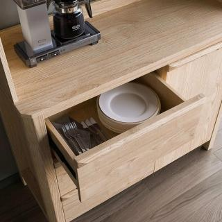 【hoi! 好好生活】林氏木業北歐簡約1.2米大容量餐邊櫃HS1T-原木色