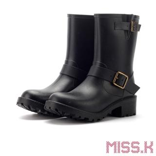 【MISS.K】龐克經典款時尚防滑耐磨機車靴 個性雨靴(黑)