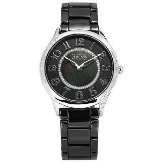 【NATURALLY JOJO】時尚迷人 珍珠母貝 藍寶石水晶玻璃 閃耀晶鑽 陶瓷手錶 黑色 36mm(JO96940-88F)