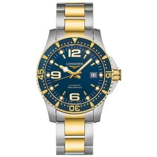 【LONGINES 浪琴】300米半金藍面潛水款x41mm(L37423967)