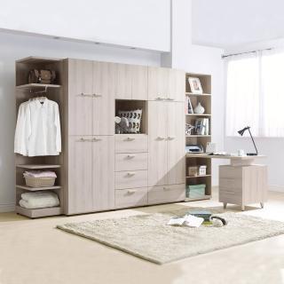 【BODEN】珊迪10.6尺北歐風多功能收納書桌衣櫃組合(開門+開放式+書桌)