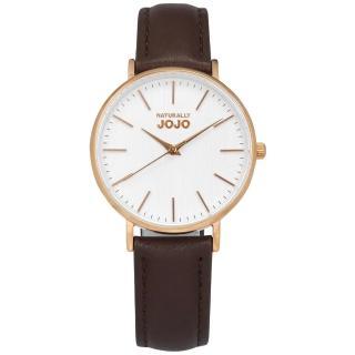 【NATURALLY JOJO】簡約木紋 藍寶石水晶玻璃 日本機芯 真皮手錶 白x玫瑰金框x咖啡 34mm(JO96932-80R)