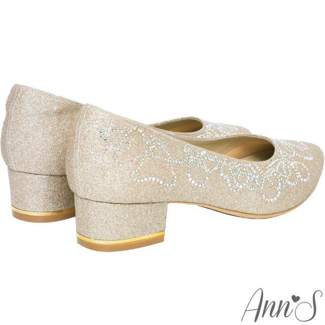 【Ann'S】璀璨流線手工燙鑽-尖頭舒適低跟婚鞋(金)/