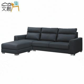 【文創集】凱曼  現代灰透氣布紋皮革L型沙發組合(三人座+椅凳+坐墊滑移功能設計)