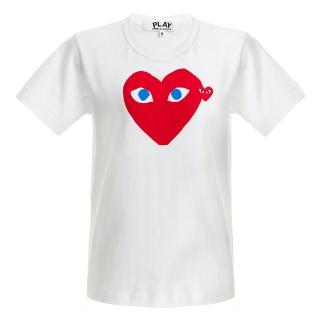 【川久保玲】Comme des PLAY系列紅愛心藍眼睛圓領T恤(白色)