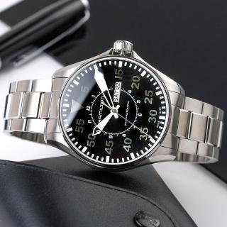 【HAMILTON 漢米爾頓】Khaki 飛行經典自動上鍊機械不鏽鋼腕錶/銀x黑面(H64715135)
