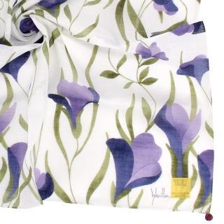 【Sybilla】典雅彩繪花葉純綿帕巾領巾(藍紫色)