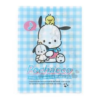 【小禮堂】帕恰狗 日製雙開式文件夾《A4.藍白格紋》資料夾.檔案夾.歡樂氛圍系列