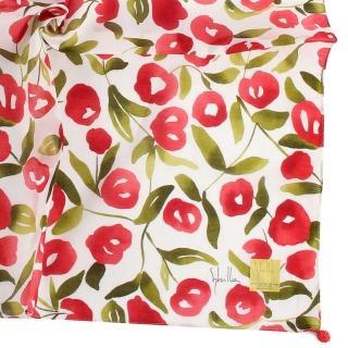 【Sybilla】花團錦簇彩繪純綿帕巾領巾(紅色)