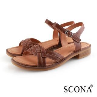 【SCONA 蘇格南】全真皮 舒適編織涼鞋(咖啡色 31073-3)