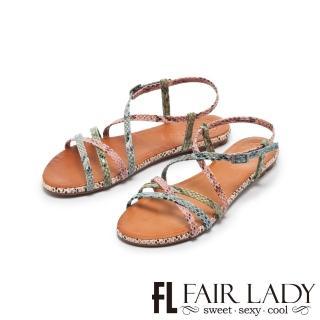 【FAIR LADY】PORRONET蛇紋皮革交叉繞帶平底涼鞋(蛇紋彩、122215)
