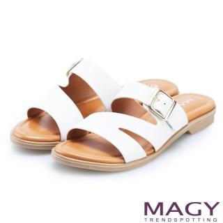 【MAGY】樂活渡假 造型剪裁皮革平底拖鞋(白色)