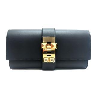【Hermes 愛馬仕】Medor Sanguine CDC皮革金色鉚釘穿式手拿包(黑)