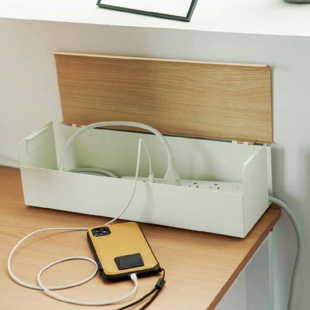 【完美主義】木紋質感集線收納盒/集線盒/收線盒(二色可選)/