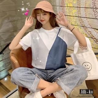 【JILLI-KO】小可愛視覺造型寬版T恤-F(藍/深藍)