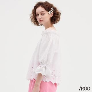 【iROO】白色緹花一字領棉料上衣