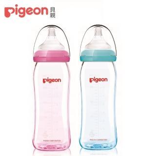 【Pigeon 貝親】矽膠護層寬口母乳實感玻璃奶瓶240ml(2色)