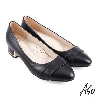 【A.S.O 阿瘦集團】時尚流行 健步通勤簡約壓紋條帶中跟鞋(黑)