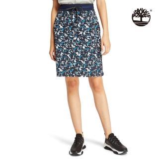 【Timberland】女款深寶石藍拼接A字短裙(B5403433)