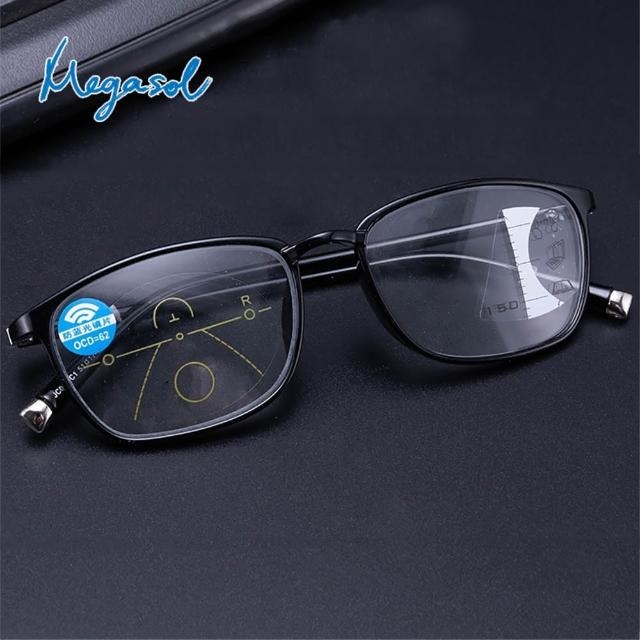 【MEGASOL】濾藍光抗UV中性膠框方框漸進多焦老花眼鏡(矩方黑框和紅框款-KZ-JC041)/